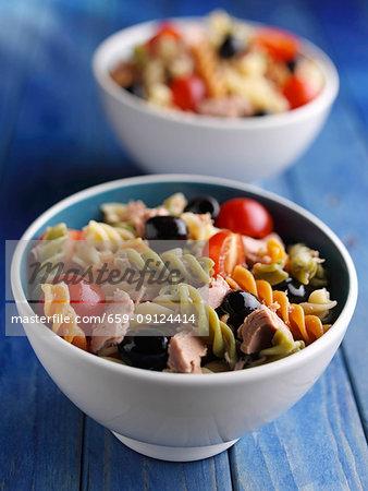 Two bowls of Tuna Fusilli salad
