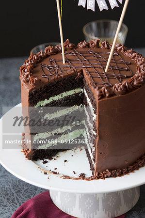 Cool A Dark Chocolate And Mint Cream Birthday Cake Stock Photo Funny Birthday Cards Online Necthendildamsfinfo