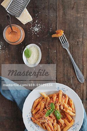 Pasta with pesto calabrese