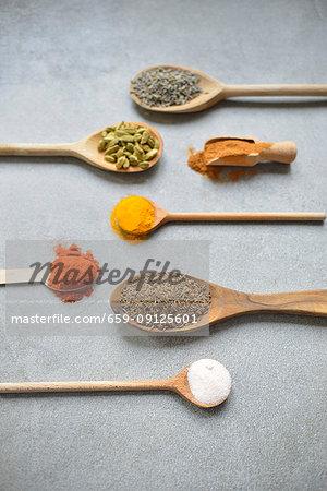 Spice on a spoon (lavender, cardamom, cinnamon, turmeric, capsicum, cumin, salt)