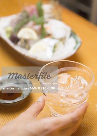 Distilled Spirits Beside Sashimi