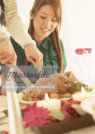 Serving roast turkey