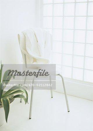 Bathrobe on chair, and plant