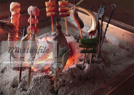 Robatayaki(Barbecue grilled in sunken hearth)