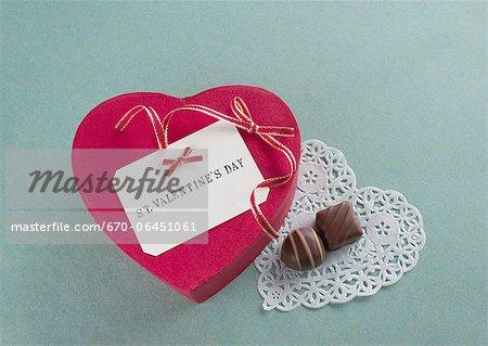 Heart-shaped gift box and chocolates