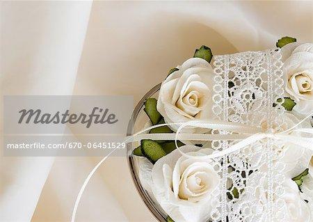 Flower arrangement of white roses
