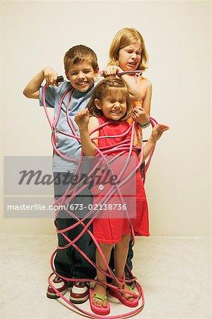 Three totally wired children