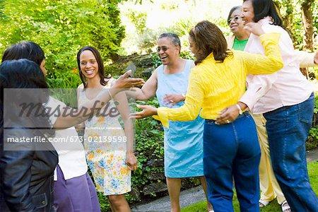 Female family members hugging