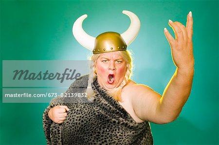 Woman pretending to sing opera