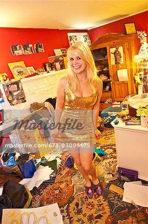 Teen girl in messy room