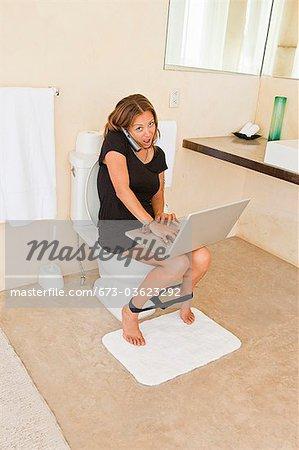 Mature women on the toilet
