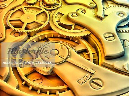 Wrist watch interior. 3D-computer artwork of cogs and gears in a mechanical wrist watch.