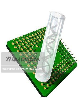 Lab-on-a-chip, conceptual computer artwork.