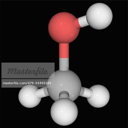 Methanol (methyl alcohol), molecular model  Organic compound