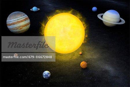 Solar system, computer artwork.