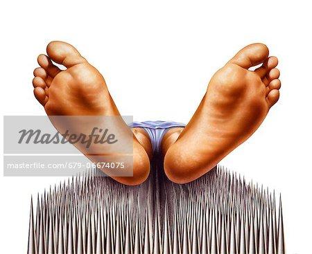 Bed of nails, artwork.