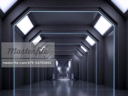 Futuristic corridor, computer artwork.