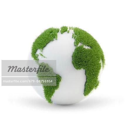 Green planet, conceptual computer artwork.