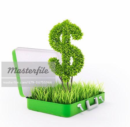 Green investment, conceptual computer artwork.