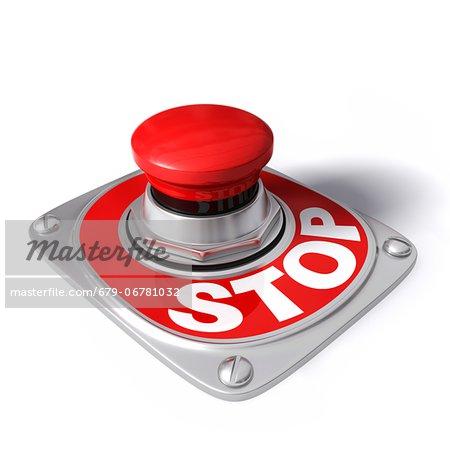 Stop button, computer artwork.