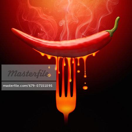 Hot chilli pepper, conceptual image.