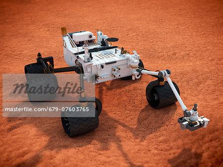 Curiosity Mars rover, computer artwork.
