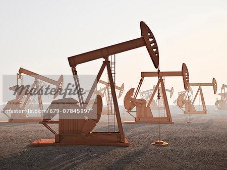 Oil wells, computer artwork.