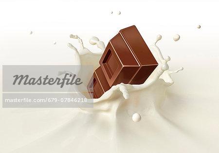 Chocolate splashing into milk, computer artwork.