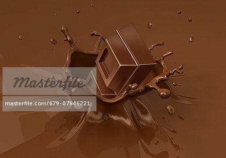 Chocolate splashing into milkshake, computer artwork.