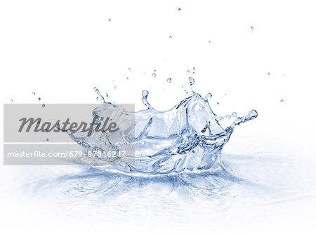 Water splashing, computer artwork.