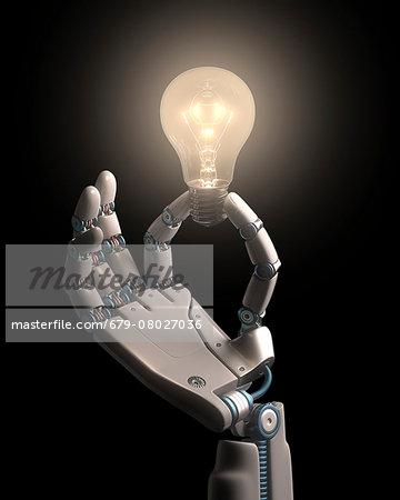 Robotic hand holding a light bulb
