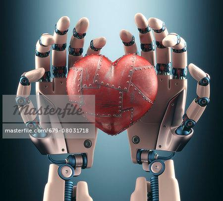 Robotic hands holding heart, illustration