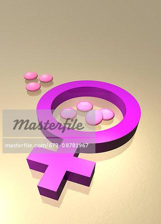 Female gender symbol and tablets, illustration.