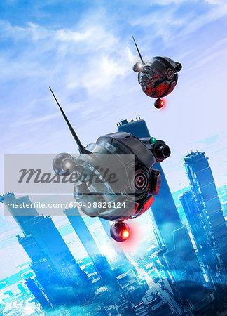 Futuristic drones, illustration.