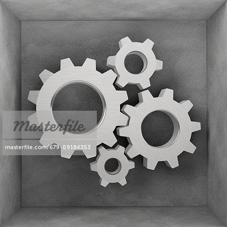 Steel gear wheels, illustration.
