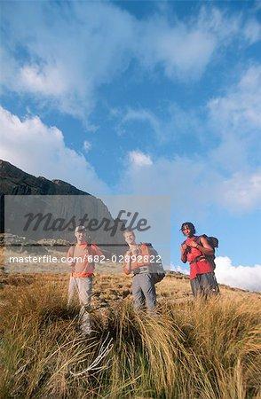 Three Men Hiking Below the Sentinel