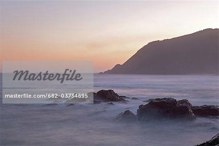 Sunset over beach on Transkei Coast, Silaka Nature Reserve, Eastern Cape Province, South Africa