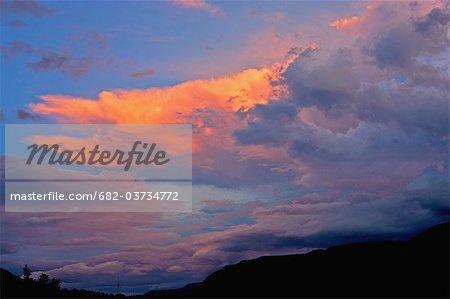 Sunset over mountains of Injesuthi Valley, Drakensberg, KwaZulu Natal Province, South Africa
