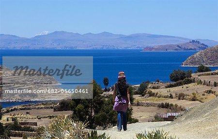 Isla del Sol trekking paths, Lake Titicaca, Bolivia, South America