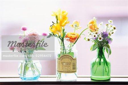 Three Vases With Flowers Stock Photo Masterfile Premium