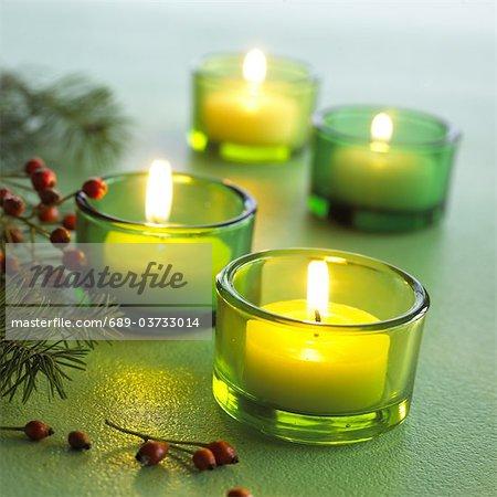 Tealights and fir branches