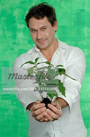 Man holding coffee plant