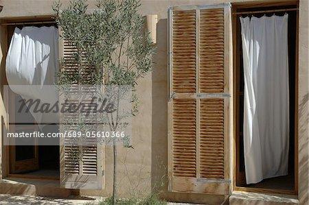 Front door with window shutters