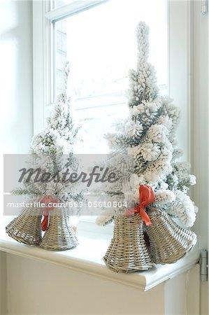 christmas decoration in windowsill stock photo - Window Sill Christmas Decorations