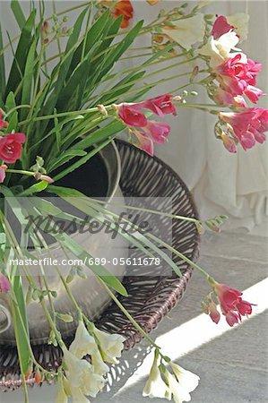 Jardaniere with flowers