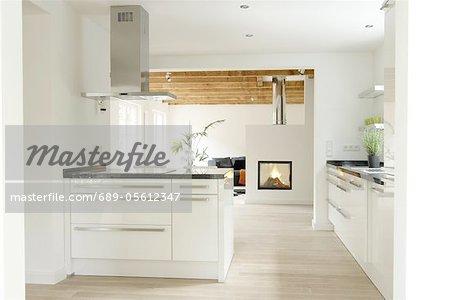 Modern open plan kitchen und fireplace in living room