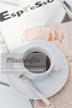 Espresso and newspaper