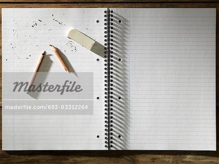 Blank Pad of Paper, Eraser and Broken Pencil
