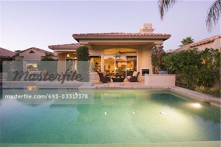 Palm Springs swimming pool, evening light