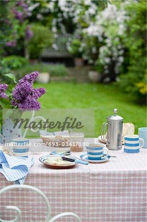 Breakfast table in back garden